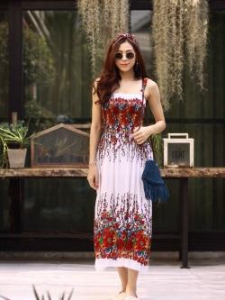 MD0031 เสื้อผ้าแฟชั่นเกาหลี เดรสเกาหลี เดรสยาว เดรสแฟชั่น แม็กซี่เดรส Maxidress ลายดอก Maxi Dress (สีขาว)