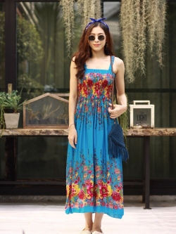 MD0032 เสื้อผ้าแฟชั่นเกาหลี เดรสเกาหลี เดรสยาว เดรสแฟชั่น แม็กซี่เดรส Maxidress ลายดอก Maxi Dress