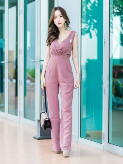 JS0029 เสื้อผ้าแฟชั่น เสื้อผ้าเกาหลี ชุดจั๊มสูท จั๊มสูทขายาว จั๊มสูทกางเกง ชุดออกงาน ชุดทำงาน แขนกุด (สีนู้ด)