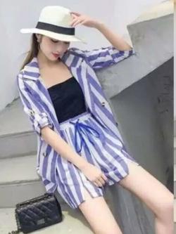 PS0019 เสื้อผ้าแฟชั่น เสื้อผ้าเกาหลี ชุดเซ็ทเกาหลี ชุดเซ็ต ชุดไปเที่ยว ชุดออกงาน ชุดทำงาน (สีฟ้า)