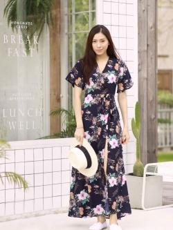 MD0025 เสื้อผ้าแฟชั่นเกาหลี เดรสเกาหลี เดรสยาว เดรสแฟชั่น แม็กซี่เดรส Maxidress ลายดอก Maxi Dress (สีกรม)
