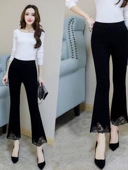 TS0003 กางเกงแฟชั่น กางเกงขายาว กางเกงขาบาน กางเกงขากระดิ่ง กางเกงใส่เที่ยว สีดำ