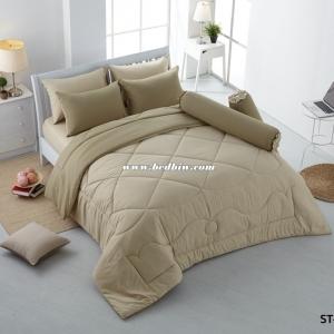 ชุดเครื่องนอน ผ้าปูที่นอนสีพื้น Stamp รหัส ST-58