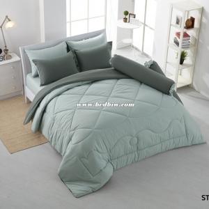 ชุดเครื่องนอน ผ้าปูที่นอนสีพื้น Stamp รหัส ST-56