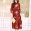 MD0023 เสื้อผ้าแฟชั่นเกาหลี เดรสเกาหลี เดรสยาว เดรสแฟชั่น แม็กซี่เดรส Maxidress ลายดอก Maxi Dress (สีแดง) thumbnail 2