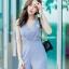 JS0031 เสื้อผ้าแฟชั่น เสื้อผ้าเกาหลี ชุดจั๊มสูท จั๊มสูทขายาว จั๊มสูทกางเกง ชุดออกงาน ชุดทำงาน แขนกุด (สีเทาอมฟ้า) thumbnail 5