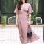 MD0035 เสื้อผ้าแฟชั่นเกาหลี เดรสเกาหลี เดรสยาว เดรสแฟชั่น แม็กซี่เดรส Maxidress เดรสลายทาง Maxi Dress (สีน้ำตาล) thumbnail 1