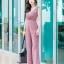 JS0029 เสื้อผ้าแฟชั่น เสื้อผ้าเกาหลี ชุดจั๊มสูท จั๊มสูทขายาว จั๊มสูทกางเกง ชุดออกงาน ชุดทำงาน แขนกุด (สีนู้ด) thumbnail 3