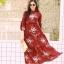 MD0023 เสื้อผ้าแฟชั่นเกาหลี เดรสเกาหลี เดรสยาว เดรสแฟชั่น แม็กซี่เดรส Maxidress ลายดอก Maxi Dress (สีแดง) thumbnail 3