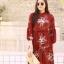 MD0023 เสื้อผ้าแฟชั่นเกาหลี เดรสเกาหลี เดรสยาว เดรสแฟชั่น แม็กซี่เดรส Maxidress ลายดอก Maxi Dress (สีแดง) thumbnail 4