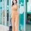 JS0030 เสื้อผ้าแฟชั่น เสื้อผ้าเกาหลี ชุดจั๊มสูท จั๊มสูทขายาว จั๊มสูทกางเกง ชุดออกงาน ชุดทำงาน แขนกุด (สีส้มอิฐ) thumbnail 2