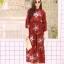 MD0023 เสื้อผ้าแฟชั่นเกาหลี เดรสเกาหลี เดรสยาว เดรสแฟชั่น แม็กซี่เดรส Maxidress ลายดอก Maxi Dress (สีแดง) thumbnail 1