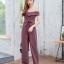 JS0037 เสื้อผ้าแฟชั่น เสื้อผ้าเกาหลี ชุดจั๊มสูท จั๊มสูทขายาว จั๊มสูทกางเกง ชุดออกงาน ชุดทำงาน จั๊มสูทเปิดไหล่ จั๊มสูทปาดไหล่ (สีนู้ด) งานสวยหนักมากกก❗️จั๊มสูทขายาวรุ่นนี้สวยมากเลยค่ะ thumbnail 1