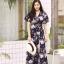 MD0025 เสื้อผ้าแฟชั่นเกาหลี เดรสเกาหลี เดรสยาว เดรสแฟชั่น แม็กซี่เดรส Maxidress ลายดอก Maxi Dress (สีกรม) thumbnail 1