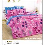 toto ชุดเครื่องนอน ผ้าปูที่นอนลายดอกไม้ TT483 ชมพู