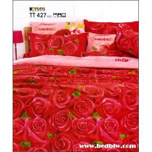 ผ้าปูที่นอนราคาถูก toto ลายสวย ลายดอกไม้ TT427 แดง