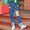Pre-Order กางเกงยีนส์ขายาวแต่งรอยแหวก ปักลายน้องหมา Corgi