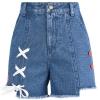 Pre-Order กางเกงยีนส์ขาสั้นขอบรุ่ย แต่งกระดุมและเชือกร้อย