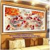 ฝูงปลาค๊าฟ ครอสติสคริสตัล Diamond painting ภาพติดเพชร งานฝีมือ DIY