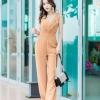 JS0030 เสื้อผ้าแฟชั่น เสื้อผ้าเกาหลี ชุดจั๊มสูท จั๊มสูทขายาว จั๊มสูทกางเกง ชุดออกงาน ชุดทำงาน แขนกุด (สีส้มอิฐ)