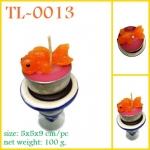 TL-0013 : เทียนปลาน้อยในถ้วยทีไลท์วางบนเชิงเทียนเล็ก pc