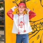Pre-Order เสื้อฮู้ดแขนยาวสีทูโทน ขาว-แดง ปักลายจรวดแต่งเชือกดาวเสาร์
