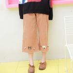 Pre-Order กางเกงลูกฟูกขาห้าส่วนติดตุ๊กตาหมี มี2สี