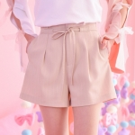 Pre-Order กางเกงขาสั้นสีพาสเทล มีเชือกผูกเอว มี2สี
