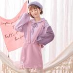 Pre-Order เอี๊ยมกระโปรงผ้าWool สีชมพู ปักลายซากุระ ห้อยปอมปอม
