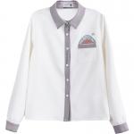 Pre-Order เสื้อเชิ้ตชีฟองสีขาวกุ๊นขอบสีเทา พิมพ์ลายฉลาม