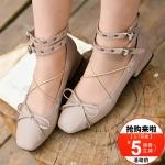 Pre-Order รองเท้าส้นเตี้ยหนังเทียม สายรัดสองชั้นแต่งเชือกไขว้