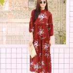 MD0023 เสื้อผ้าแฟชั่นเกาหลี เดรสเกาหลี เดรสยาว เดรสแฟชั่น แม็กซี่เดรส Maxidress ลายดอก Maxi Dress (สีแดง)