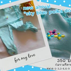 บอดี้สูท : sky blue polka dot