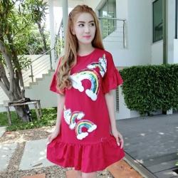 DS0026 เสื้อผ้าแฟชั่น เสื้อผ้าเกาหลีเดรส Dress ชุดเดรส เดรสสั้น เดรสเกาหลี เดรสทำงาน