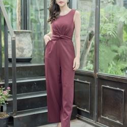 JS0025 เสื้อผ้าแฟชั่น เสื้อผ้าเกาหลี ชุดจั๊มสูท จั๊มสูทขายาว จั๊มสูทกางเกง ชุดออกงาน ชุดทำงาน แขนกุด เสื้อผ้า เสื้อสวย อินเทรนด์ ทันสมัย น่ารัก เกรด A เกรดเอ ชุดจั๊มสูท จั๊มสูทขายาว จั๊มสูทกางเกง (สีแดงเลือดหมู)
