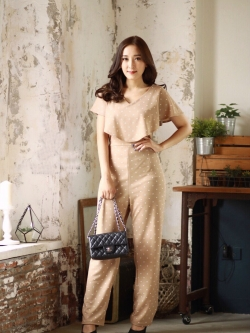 JS0045 เสื้อผ้าแฟชั่น เสื้อผ้าเกาหลี ชุดจั๊มสูท จั๊มสูทขายาว จั๊มสูทกางเกง ชุดออกงาน ชุดทำงาน จั๊มสูทแขนกุด จั้มสูทเปิดไหล่ (ลายจุด)