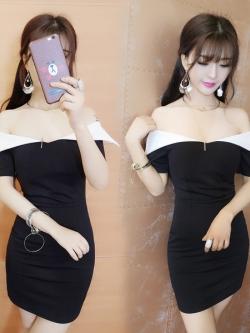 ชุดเดรสแฟชั่นเกาหลีสีดำแขนสั้นซิปหลัง
