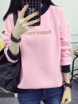 เสื้อคลุมกันหนาวแขนยาวคอกลมผ้าไม่ยืด สีชมพู