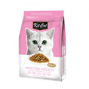 Kit Cat Mini Fish Medley อาหารแมวสูตรรวมมิตรปลา (เสริมสร้างกระดูก) ท็อปปิ้งปลาตัวเล็ก (1.2kg)