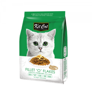 Kit Cat Fillet 'O' Flakes อาหารแมวสูตรปลาโอแห้ง (ช่วยให้อยากอาหาร) สำหรับแมวกินยาก ไม่มีส่วนผสมของหม