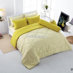 ชุดเครื่องนอน ผ้าปูที่นอนสีพื้น Stamp รหัส ST-60