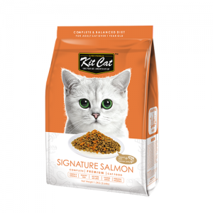 Kit Cat Signature Salmon (Beautiful Hair) อาหารแมวสูตรขนสวย บำรุงขน ท็อปปิ้งเนื้อปลาแซลมอน (1.2kg)