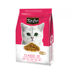 Kit Cat Classic 32 อาหารแมวสูตรคลาสสิค (เสริมทอรีน) บำรุงหัวใจและสายตา ไม่มีส่วนผสมของหมู (1.2kg)