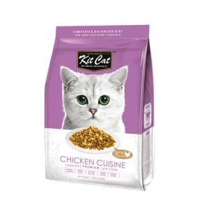 Kit Cat Chicken Cuisine อาหารแมวสูตรไก่ (ลดการเกิดก้อนขน) ท็อปปิ้งเนื้อไก่ ไม่มีส่วนผสมของหมู (1.2kg