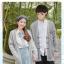 Pre-Order เสื้อคลุมคู่รัก ไหมพรมตัวยาว สีเทา ปักลายแพนด้า/กอไผ่ thumbnail 1