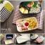 กล่องข้าวญี่ปุ่น กล่องข้าวอุ่นไมโครเวฟได้ กล่องข้าวแบบ 2 ชั้นพร้อมตะเกียบในกล่อง