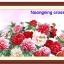 ดอกไม้สีแดง+ขาว ชุดปักครอสติช พิมพ์ลาย งานฝีมือ thumbnail 1