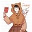 Pre-Order ผ้าคลุมฮู้ดมีหูขนสัตว์ตัวสั้น สีน้ำตาล thumbnail 4