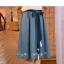 Pre-Order กระโปรงผ้าฝ้ายดิบสีน้ำเงินปักลายดอกไม้ มีผ้าผูกเอว thumbnail 7