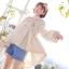 Pre-Order เสื้อคลุมฮู้ดชายระบายไล่ระดับ ปักลายดอกไม้ สีเอิร์ทโทน thumbnail 1